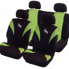 Huse scaune auto Greier, negru cu verde, 8 buc - Husa scaun auto Carpoint