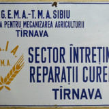 Tabla emailata veche reclama - decor garaj Reparatii SMA - anii '60 90cm x 60cm - Reclama Tiparita