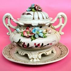 IMPRESIONANT VAS MARE CU PLATOU, BASSANO, ITALIA - Arta Ceramica