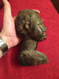 STATUETA AFRICANA - LEMN ABANOS - Cap de barbat african - Sculptata manual !