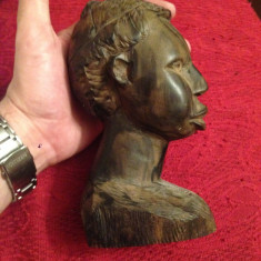 STATUIE AFRICANA - LEMN ABANOS - Cap de barbat african - Sculptata manual ! - Sculptura