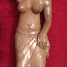 STATUIE AFRICANA - LEMN ABANOS - Femeie care cara pe cap - Sculptata manual ! - Sculptura, Nuduri