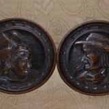 SET - 2 FARFURII - LEMN - Sculptate manual - Franta - Vechi - Ornamentale ! - Sculptura, Europa