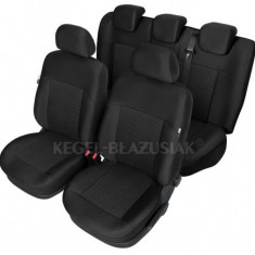 Set huse scaun model Poseidon Negru pentru Dacia Logan, set huse auto Fata + Spate - Husa scaun auto KEGEL-BLAZUSIAK