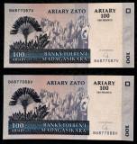 LOT MADAGASCAR 2 x 100 ARIARY ( 500 FRANCS ) 2004 UNC consecutive **