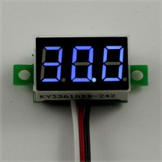 Voltmetru Mini Digital Voltmeter DC 2.5-30V led albastru fosforescent