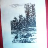 Gravura pe lemn semnata Sz B- Gy.Szabo Bela 1944 -Copil cu vaca, la scaldat - Pictor roman, Peisaje, Cerneala, Altul