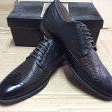 Pantofi PIELE NATURALA roberto moresi negru/maro - Pantofi barbat, Marime: 44