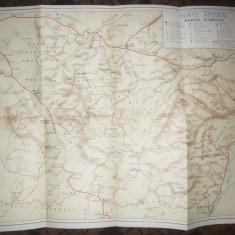 Harta Turistica a Muntilor Apuseni, anii '50, dim.= 51 x 40 cm