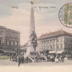 ARAD, STATUIA HAROMSAG, CIRCULATA JUL. ''907, TCV - Carte Postala Crisana 1904-1918, Printata