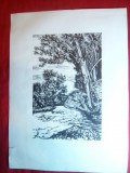 Gravura pe lemn semnata Sz B- Gy.Szabo Bela 1944 -Peisaj cu rau ,21x13,5 cm grav