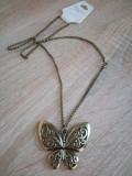 Pandantiv Colier Lantisor Fluture Bronz