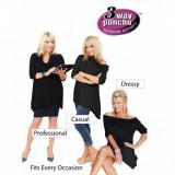 Poncho Carresse bluza cu 3 moduri de purtat - Bluza dama, Maneca scurta, Negru, Lana