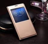 Husa Xiaomi Redmi Note 2 S-VIEW Gold, Piele Ecologica, Cu clapeta
