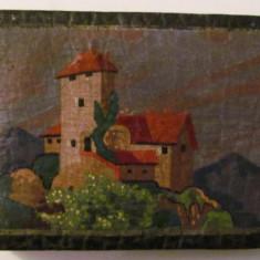 CY - Album foto foarte vechi de mici dimensiuni coperte din piele pictata manual