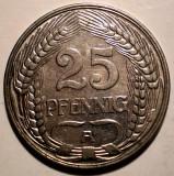 E.311 GERMANIA DEUTSCHES REICH 25 PFENNIG 1910 A XF/AUNC, Europa, Nichel