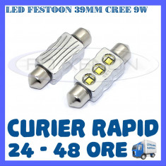 BEC AUTO LED LEDURI - SOFIT FESTOON C5W 39 mm - CREE 9W CANBUS FARA EROARE