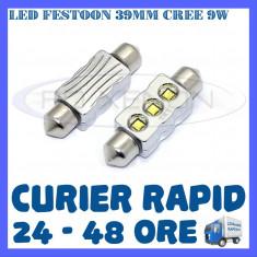BEC AUTO LED LEDURI - SOFIT FESTOON C5W 39 mm - CREE 9W CANBUS FARA EROARE - Led auto ZDM, Volkswagen