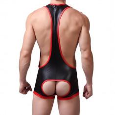 Jockstrap / suspensor / full body - aspect cauciucat / piele din nylon+spandex, Marime: M, Culoare: Negru