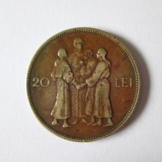 RARA! MONEDA 20 LEI HORA 1930 - Moneda Romania, Cupru (arama)