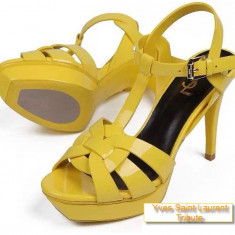 Sandale Yves Saint Laurent Tribute - YSL - PE STOC - Super Promotie!!! - Sandale dama Yves Saint Laurent, Culoare: Galben, Marime: 38, Piele naturala