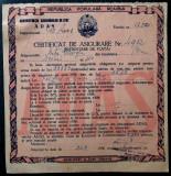 CERTIFICAT DE ASIGURARE ADAS RPR 1956 **, Romania de la 1950