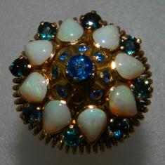 Inel aur 18k vintage deosebit pietre opal si safire, Culoare: Galben