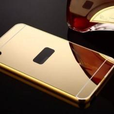 Bumper aluminiu+spate acril tip oglinda HTC DESIRE 816, gold - Husa Telefon HTC, Auriu