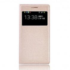Husa flip cover SAMSUNG GALAXY S4 cu s view active, gold - Husa Telefon Samsung, Auriu