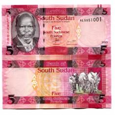 SUDANUL DE SUD- 5 POUNDS 2015 - UNC - bancnota africa