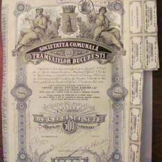GE - Actiune nominativa 500 lei Societatea Comunala Tramvaielor Bucuresti 1945/6, Romania 1900 - 1950