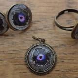 Set cercei surub, inel si pandantiv cu cabochoane ochiul dragonului