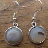 Cercei baze argintii cu cabochoane agate gri
