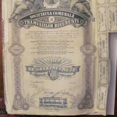 GE - Actiune nominativa 500 lei Societatea Comunala Tramvaielor Bucuresti 1945/5, Romania 1900 - 1950