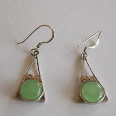 Cercei de argint cu jad - 388 - Cercei argint
