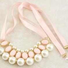 Colier imens lant statement perle roz funda saten pt rochii seara ocazie nunta - Colier perle pandora