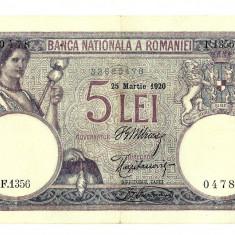 5 LEI 1920, MARTIE, SUPERBA !! - Bancnota romaneasca