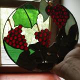 Piesa decor vitraliu realizat din sticla colorata piatra si lemn / opera de arta