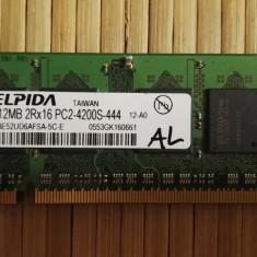 Ram Laptop Elpida 512Mb DDR2 Pc2-4200S EBE52UD6AFSA-5C-E (AL) - Memorie RAM laptop Elpida, 533 mhz