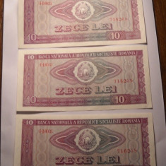 Lot 3 bancnote 10 lei 1966 UNC Serii Consecutive - Bancnota romaneasca