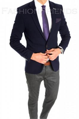 Sacou tip Zara Man bleumarin - sacou barbati - sacou casual elegant- cod 6405 foto