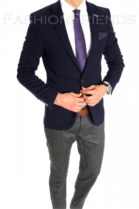 Sacou tip Zara Man bleumarin - sacou barbati - sacou casual elegant- cod 6405 foto mare