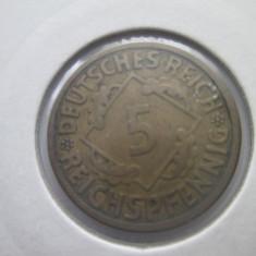 Germania 5 reichspfennig 1926(A), Europa, Cupru (arama)