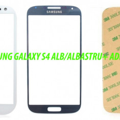 Ecran Geam Sticla Samsung Galaxy S4 Alb Albastru Negru + Adeziv Gratuit - Geam carcasa