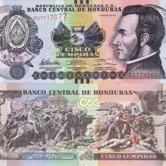 HONDURAS 5 lempiras 2012 UNC!!! - bancnota america