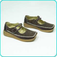 Pantofi comozi, usori, FRUMOSI, piele, de calitate, SP CASUAL → femei | nr. 36 - Pantof dama, Culoare: Maro, Piele intoarsa, Cu talpa joasa