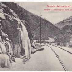 #1728- Romania, Maramures, c.p. circ.1915: Peisaj montan, valea Tisza, sine c.f., Circulata, Fotografie