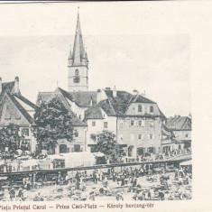 SIBIU, PIATA PRINTUL CAROL - Carte Postala Transilvania dupa 1918, Necirculata, Printata