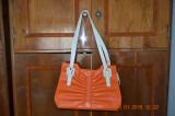 Geanta de dama din piele sintetica, Orange, Medie