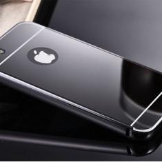 Iphone 5 5S 5SE - Bumper Rama Aluminiu Si Capac Plastic Negru Oglinda - Bumper Telefon Apple